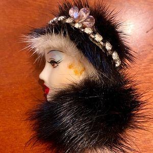 VINTAGE 1980's Mink Fur Painted Lady Art Deco Pin